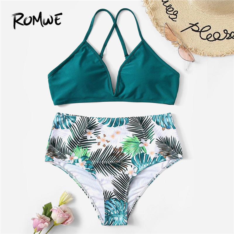 Romwe Bikinis-Set Swimwear Tropical-Floral Two-Piece High-Waist Sport Bottoms Summer