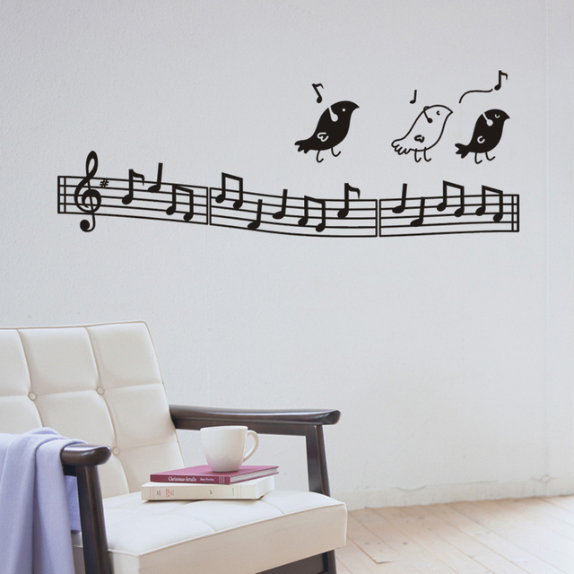 Zy8318 Wall Music Art Birds Decor Notes Decoration Kids Bedroom Musical Notation Removable