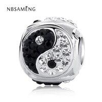 Authentische 100% 925 Sterling Silber Perlen Chinesischen Yin und Yang Kristall Perlen Charme Fit Ursprüngliche Pandora Armbänder Frauen DIY Schmuck
