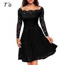 T'O Woman Elegant Lace Long Sleeve Off Shoulder Sexy See Through Tunic Ruched Wear To Party Evening Club Casual Swing Dress 434