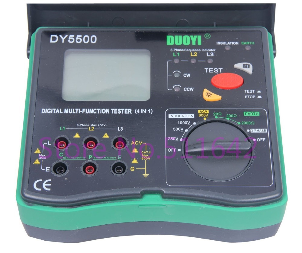 DY5500 4 in 1 Digital Multi funktion Tester Multimeter Isolierung Tester + Erde Tester + Voltmeter + Phase anzeige-in Widerstands-Messgerät aus Werkzeug bei AliExpress - 11.11_Doppel-11Tag der Singles 1