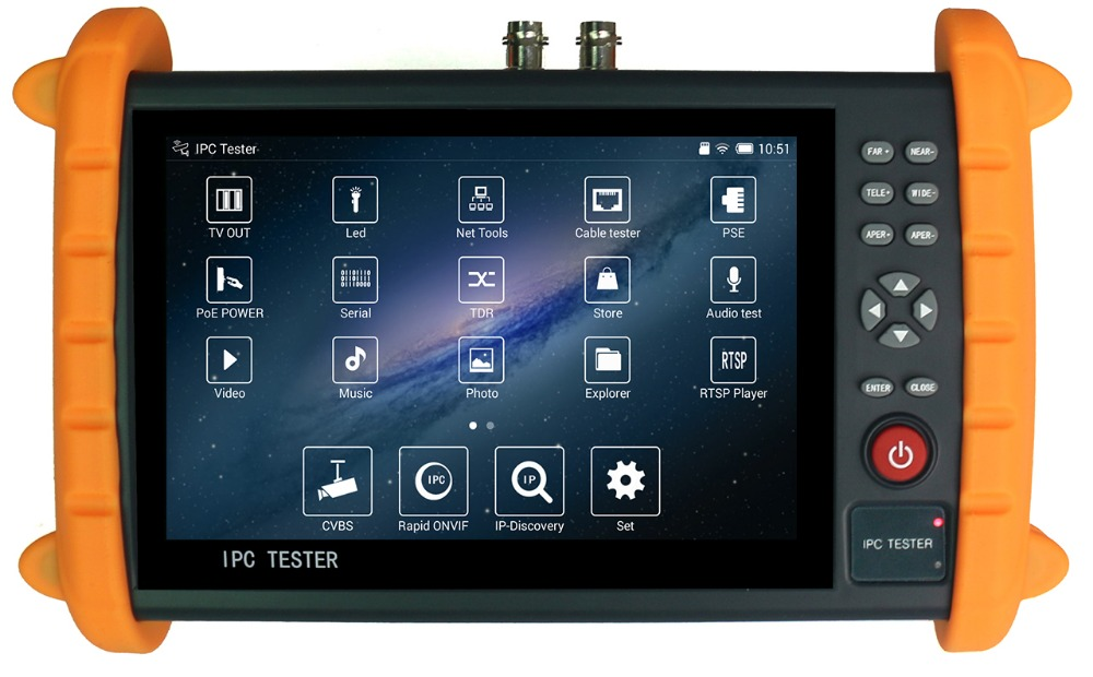 7inch CCTV TESTER support Support PELCO-P, PELCO-D, SAMSUNG etc 30 kinds of PTZ control protol for K700S