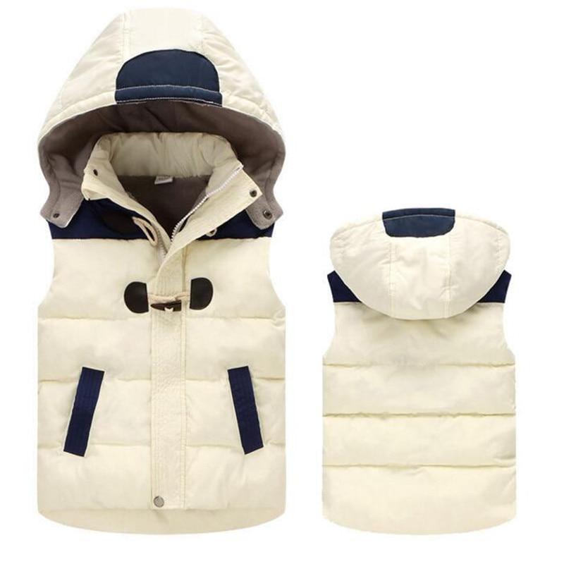 CHCDMP Kids Clothe Winter Children Vest Warm Hooded Coat Infant sleeveless Jacket Cotton Kid Boy Girl Thicker Cashmere Outwear