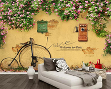 цены beibehang Custom wallpaper On the wall rose Rose Dilapidated wall Bicycle Mail Phone Bar Cafe TV background wall 3d wallpaper