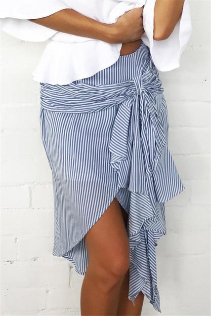 Новый Fsahion Для женщин пикантные Полосатая юбка Повседневное летние свободные Бохо юбка Пляжная Вечеринка Асимметричная юбка