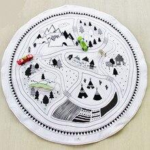 Okrągła mata do zabawy dla dzieci miękka wyściólka pełzająca koc 100cm samochód zabawka utwór Puzzle dywan dzieci bawią się indeksowanie mata dywanowa rekwizyty fotograficzne