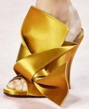 Summer Fashion Silk Fabrics Golden Woman Sandals Knot Tie Peep Toe Slipper Cut-out Satin Butterfly-Knot High Heel Sandal