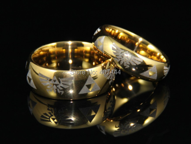 Free Shipping USA UK Canada Russia Brazil Hot Sales 6mm 8mm Gold Men's Comfort Fit Legend of Zelda Men's Tungsten Wedding Rings image