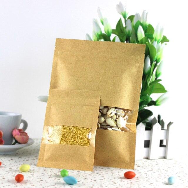 Sacos 9X14 cm Marrom Kraft saco de Papel janela Doypack Bolsa Ziplock Embalagem Saco De Armazenamento de Alimentos Em Casa
