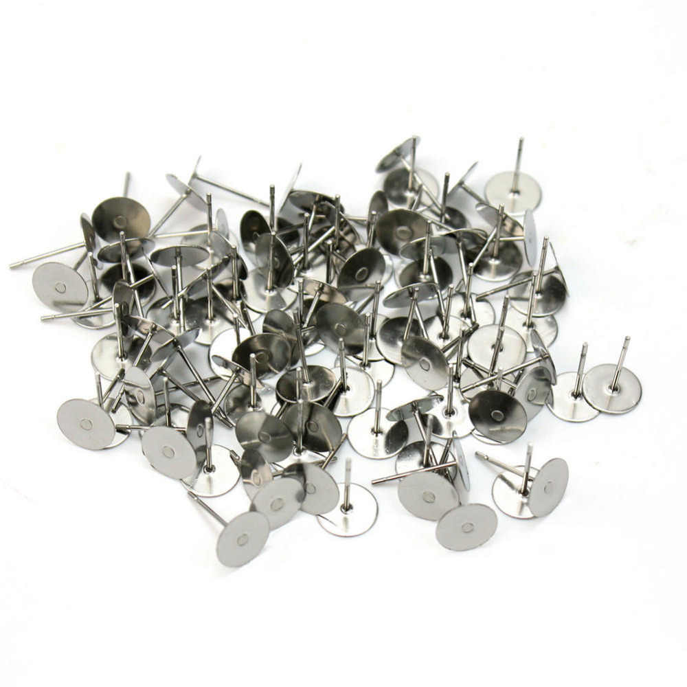 100xpcs/lots Silver Plated Flat Base Pad Earring Make DIY Posts Studs Jewelry DIY 6mm