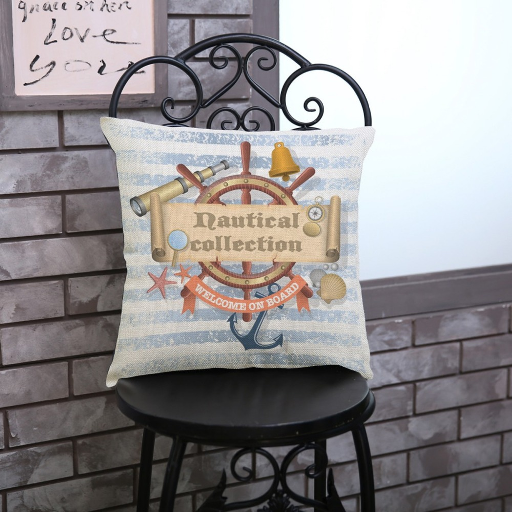 Sailing Boat Ships Anchors Retro Pillow Cases Home Decorative Coffee Shop Floor Cushion Cover 18 inch Square Linen Pillow covers
