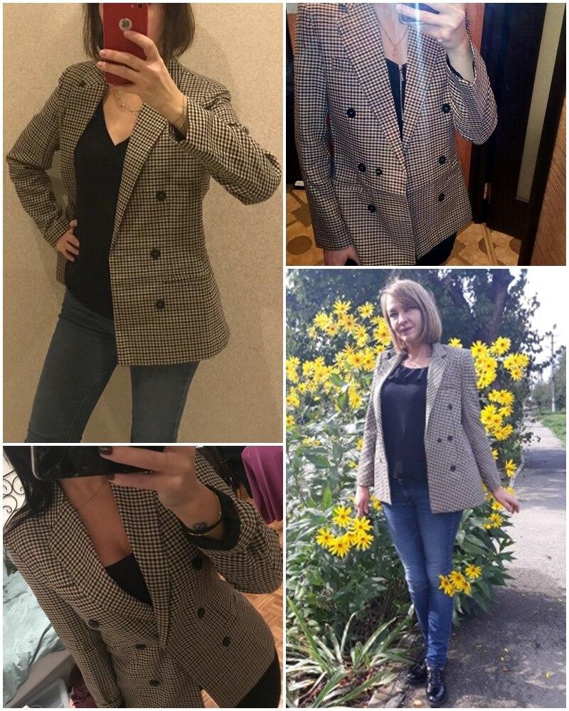 Affogatoo Fashion double breasted plaid blazer women Long sleeve slim OL blazer 18 Casual autumn jacket blazer female 5