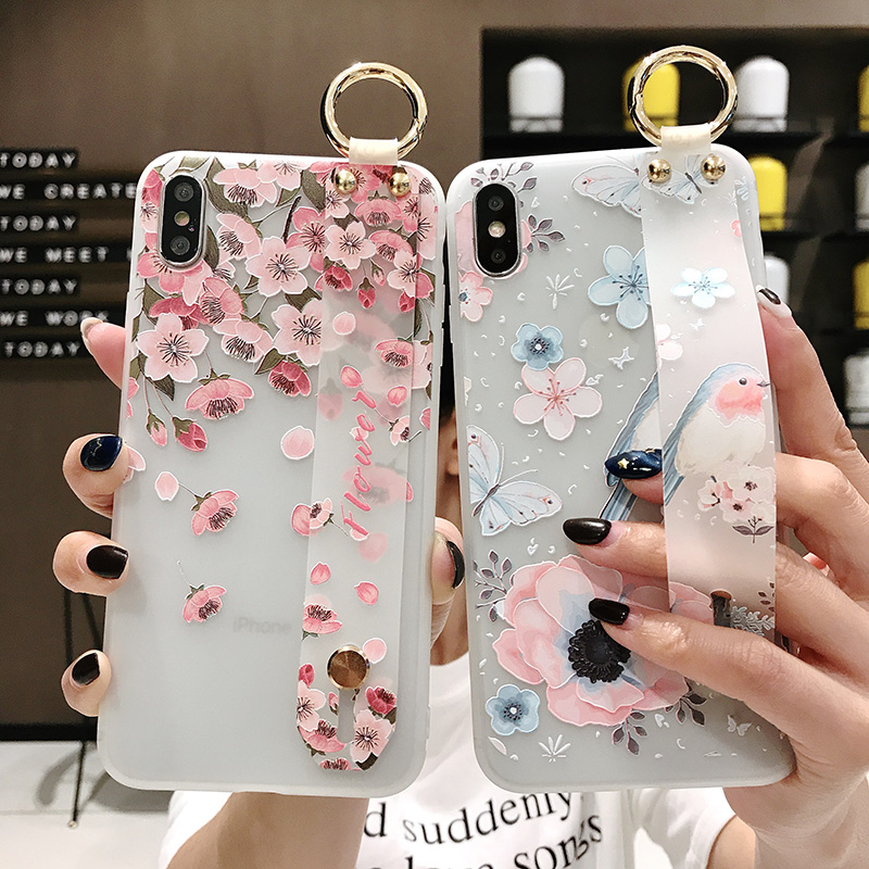SoCouple Flower Soft TPU Wrist Strap Case For iphone 7 8 6 6s plus X Xs max XR Relief Floral Phone Holder Case Transparent Cover (1)