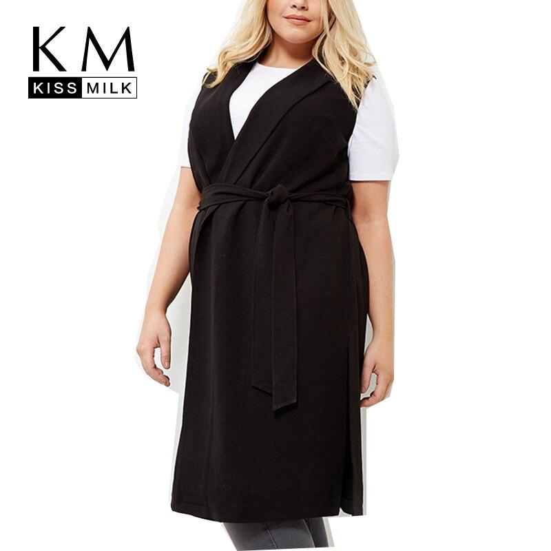 Kissmilk Plus Size Women New Fashion Big Large Size Sleeveless Solid Black V neck Wrap Dress
