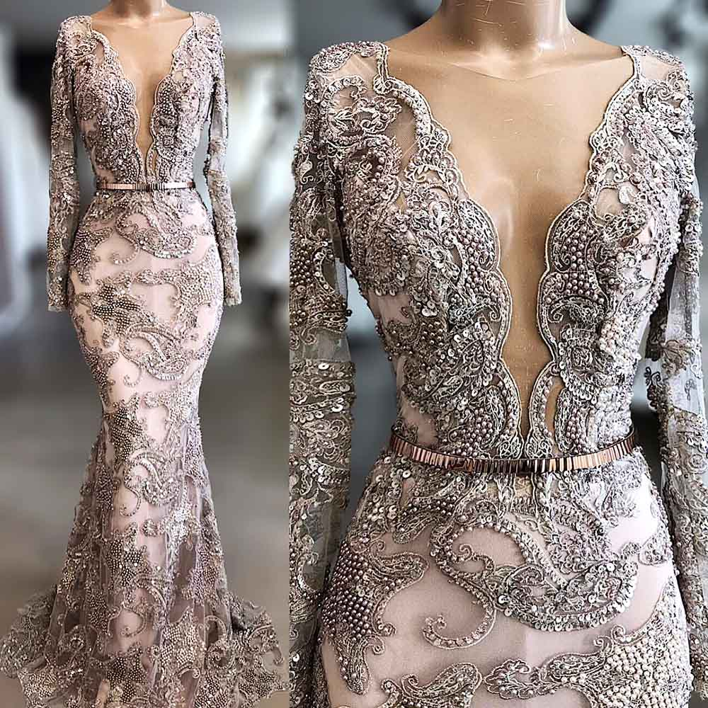 High Quality Embroidery Lace Mermaid Evening Dress Long Sleeves Plunging Neckline Hand Make Beaded Sheer Vestido De Noiva