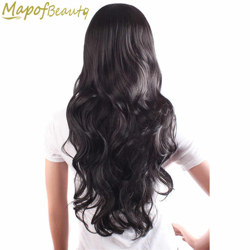 "MapofBeauty 24"" Black Brown Long wavy Natural Wigs for Black Women Heat Resistant Synthetic hair Cosplay wig false Hair Pieces"