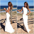 Largo Atractivo Blanco Vestido de Noche Formal Backless Cabidas Delgadas Verano Tamaño Personalizado