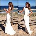 Longo Vestido Formal Branco Sexy Backless Magro Cabido Evening Verão Vestido Tamanho Personalizado