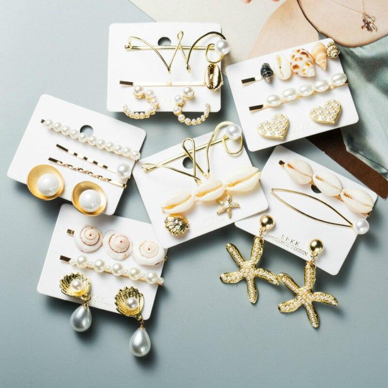 3/4/5pcs/set women Shell hair clip Conch Cowrie Hair Pins Pearl Barrette Hairgrips for Girls Sea Hair Accessories for Wedding