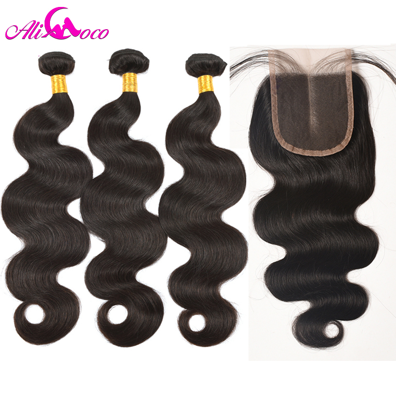 Ali Coco Brazilian Body Wave Human Hair Bundles With Lace Clsoure Non Remy Hair Natural Color 3 Bundles With Closure Extensions