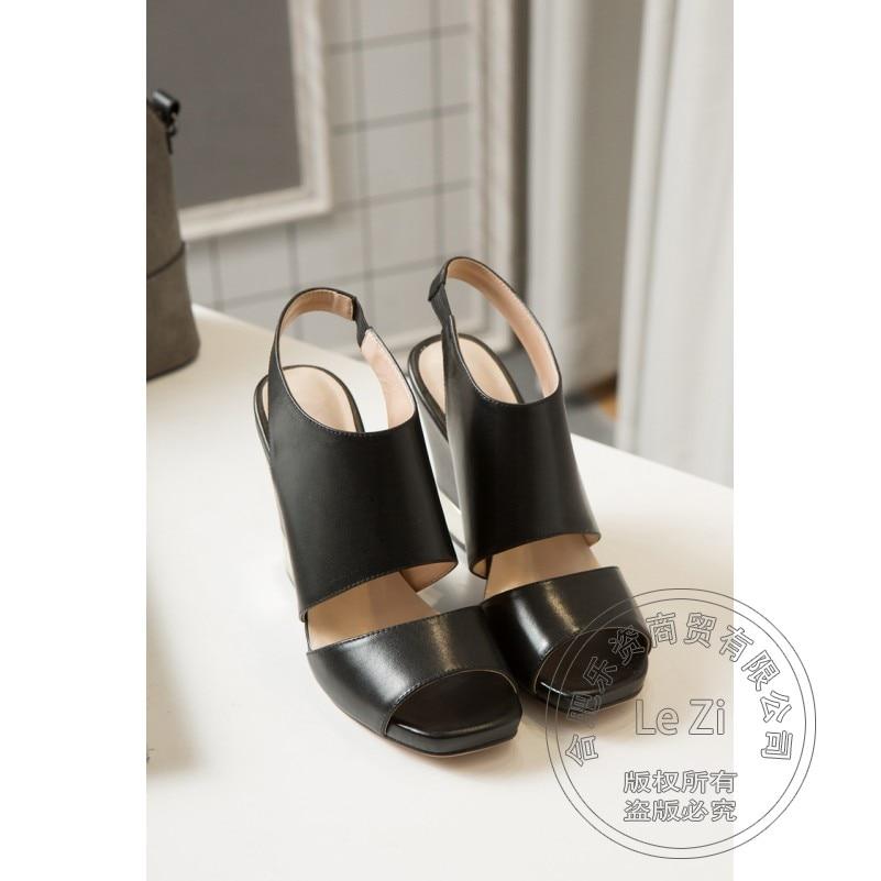 Leisure Genuine Leather Sen Female Full Grain Leather Heels Casual Genuine Leather Ankle Soft Leather Neutral