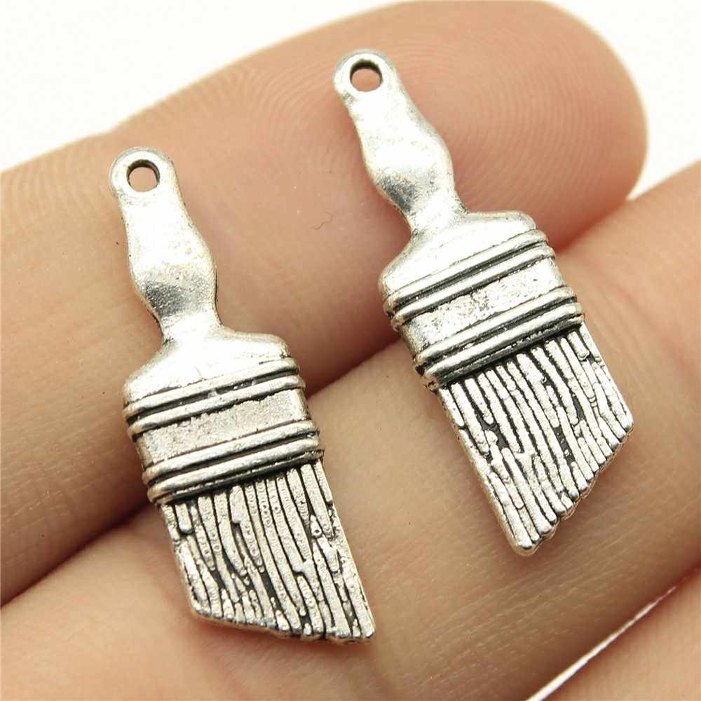 20pcs Antique Silver Tone 1.1x0.4 inch (27x9mm) Paint Brush Charms Pendant For Jewelry Making Diy Jewelry Findings