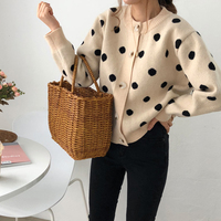 2 colors 2019 spring and autumn korean style polka dot knittd cardigans womens sweaters womens (C9210)