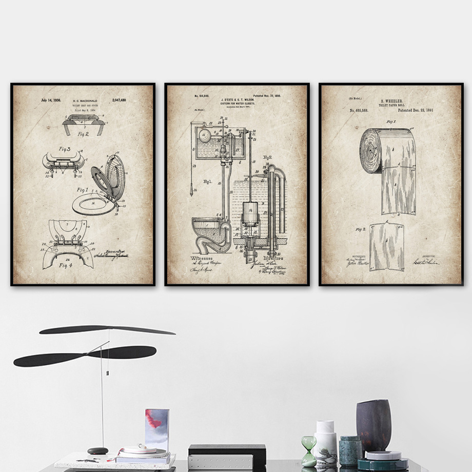 Funny Toilet Paper Lid Patent Drawing Wall Art Canvas Painting Nordic Posters And Prints Pictures For Bathroom Home Decor