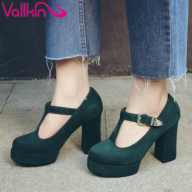 Vallkin 2017 t-correa de las mujeres de la boda bombas de la plataforma de las mujeres zapatos de tacón alto tacón cuadrado punta redonda sexy party tamaño de los zapatos 34-42