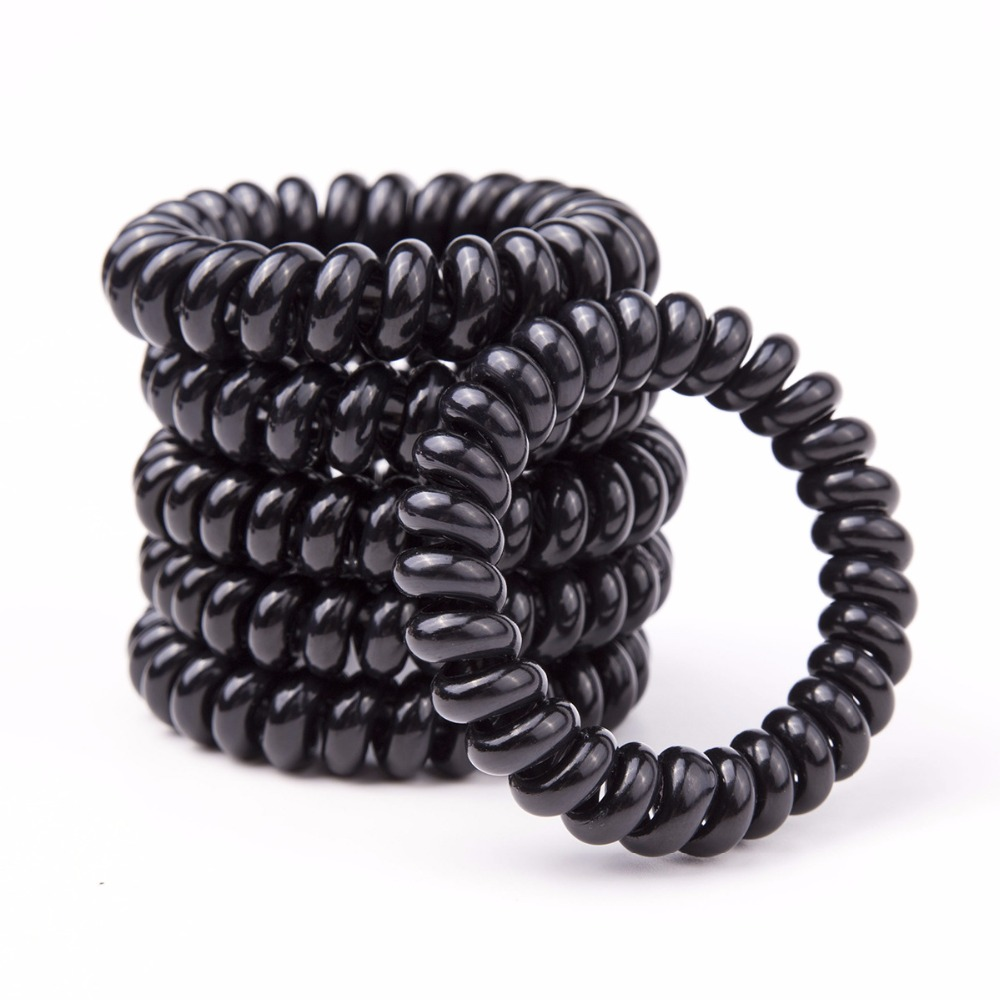 5Pcs/Pack Black Hair Ropes Elastic Rubber Hairband Butterfly Hairgrips Plastic