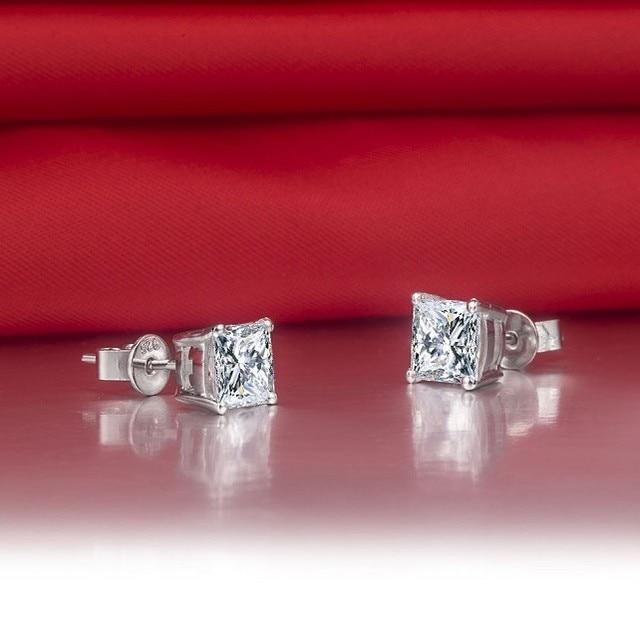 2CTW 7 7mm each G H Princess Cut Moissanite Diamond Stud Earrings TEST POSITIVE WARRANTY 925.jpg 640x640 - 2CTW 7*7mm each G-H Princess Cut Moissanite Diamond Stud Earrings TEST POSITIVE WARRANTY 925 Sterling Silver Women Earring