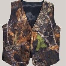 Индивидуальная камуфляжная официальная одежда для мальчиков Камуфляжный атласный жилет с натуральным деревом черная спинка с бантом для свадьбы, Детская официальная одежда для мальчиков
