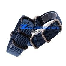 Bracelet en Nylon avec boucle en acier étanche bretelles sport montres bande otan ceinture bracelet bleu couleur 18 mm 20 mm 22 mm 24 mm