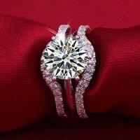 Новый оригинальный 3 карата чистый 925 серебро моделирование NSCD sona человек сделал Диамант обручальное кольцо, кольца us размер от 4 до 10,5 (DFE)