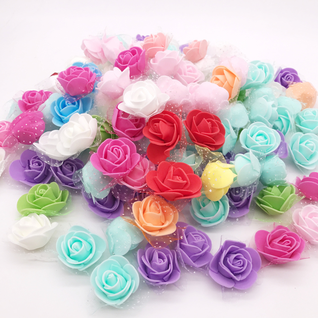 100Pcs/lot Handmade PE Foam Rose Flowers Wedding Party Home Decor Accessories Artificial Craft Flower Head Wreath Supplies
