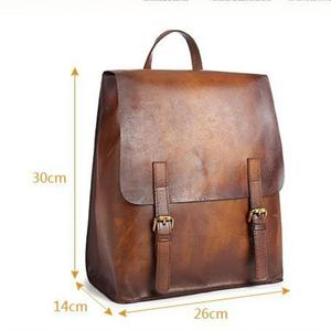 Image 4 - Johnature 2020 New Genuine Leather Backpack Women Bag Cow Leather Vintage Solid Color Backpacks Women Fashion Travel Bag