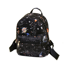 Fashion Star Universe Space Printing Backpack Black School Bags For Teenage Girls Small Backpack Women Leather Mochila Escolar