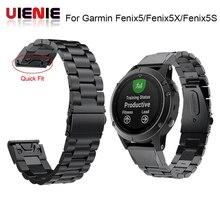 26 22 20 mm שחרור מהיר קל Fit נירוסטה שעון יד בנד רצועת עבור Garmin Fenix 6 6X 5 5X 5S 3HR D2 Mk1 חכם שעון