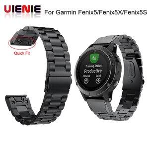 Image 1 - 26 22 20 mm libération rapide facile ajustement acier inoxydable montre bracelet bracelet pour Garmin Fenix 6 6X 5 5X 5s 3HR D2 Mk1 montre intelligente