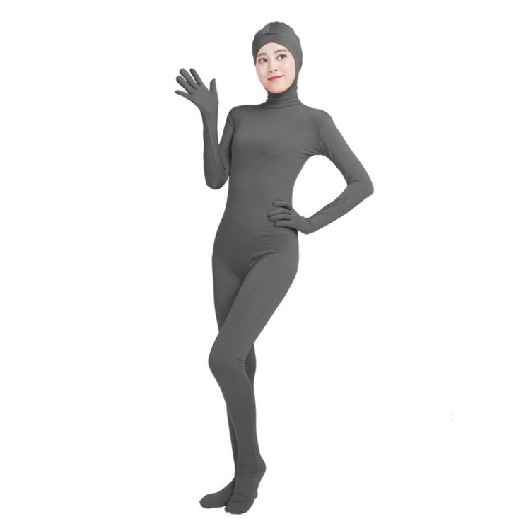 (SOF011) Gray Lycra Spandex Full Body Fetish Zentai Skin Tights Unisex Bodysuit Cosplay Costume Unitard Jumpsuit Dancewear
