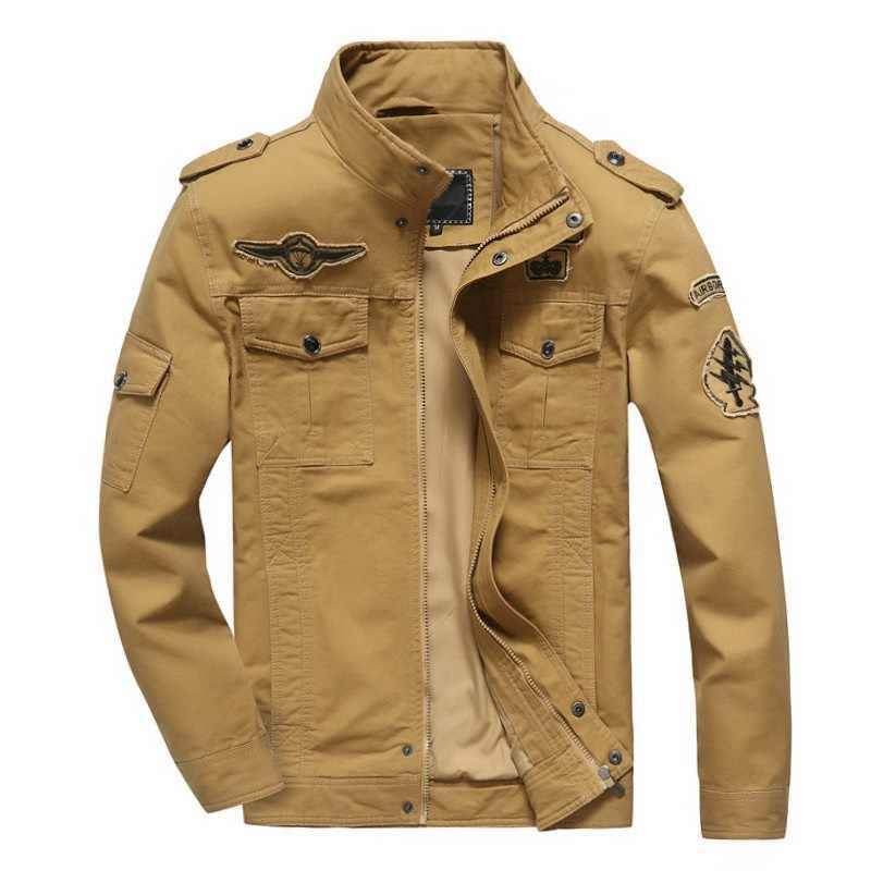 Venda quente primavera outono dos homens jaqueta jeans militar jean algodão força aérea um casaco soldado do exército masculino marca outwear mais tamanho M-6XL