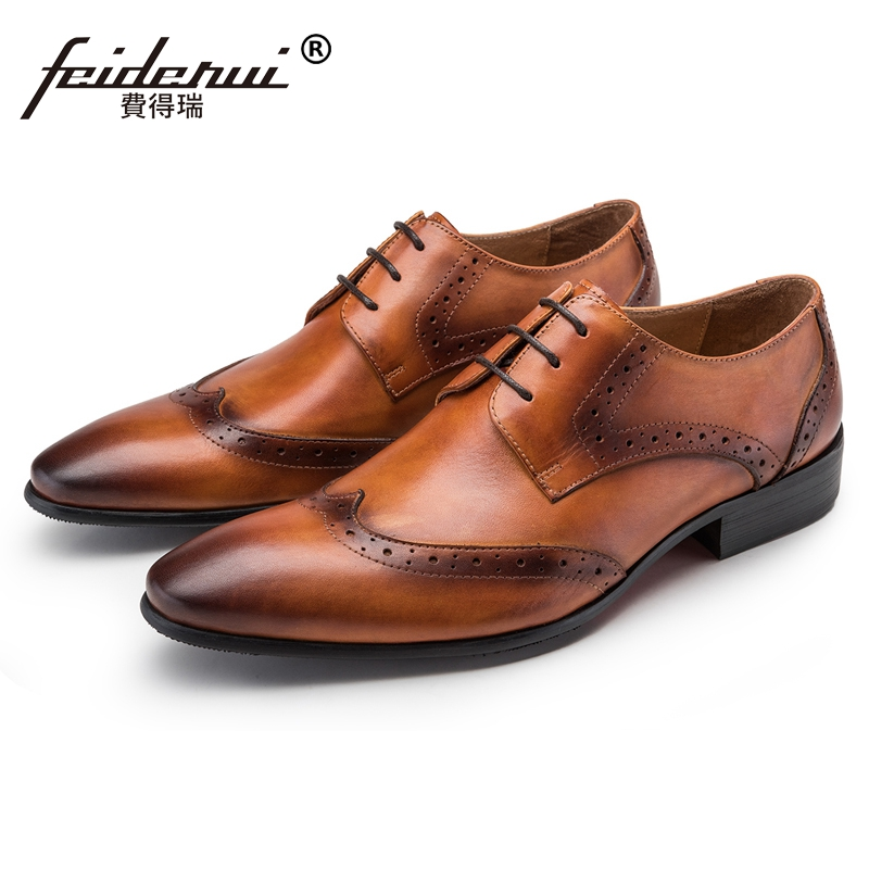 Luxury Brand British Man Formal Dress Shoes Vintage Genuine Leather Carved Brogue Footwear Pointed Toe Mens Wingtip Flats JS63Luxury Brand British Man Formal Dress Shoes Vintage Genuine Leather Carved Brogue Footwear Pointed Toe Mens Wingtip Flats JS63