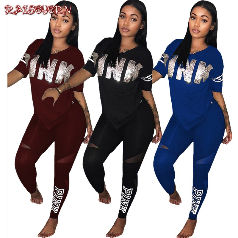 RAISEVERN Sequined Pink Letter Print Tracksuits Women Two Piece Set T-shirt Tops And Pants Set Suits Casual Bodycon 2 Piece Set