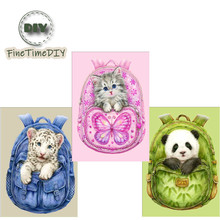 FineTime 5D DIY Diamond Painting Cross Stitch Backpack Animal Diamond Embroidery Diamond Mosaic Home Decoration Gift finetime full round 5d diy diamond painting color dog diamond embroidery cross stitch animal gift decoration