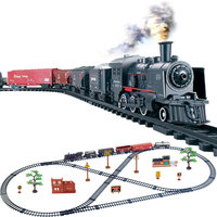 Simulation Classical Long Steam Train Track Electric Toy Trains for Kids Truck for Boys Railway Railroad Birthday Gift