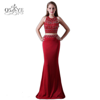 Hot Burgundy Two Piece Long Mermaid Prom Dresses 2017 Sexy Beading Top Sweep Train Cheap Formal Evening Party Gown