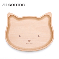 JUHD A Cute Cat Dog Shape Food Dish for Kids Baby Wooden Appetizer Platter Dinner Plate Tray Wood Dinner Plate for Children kids