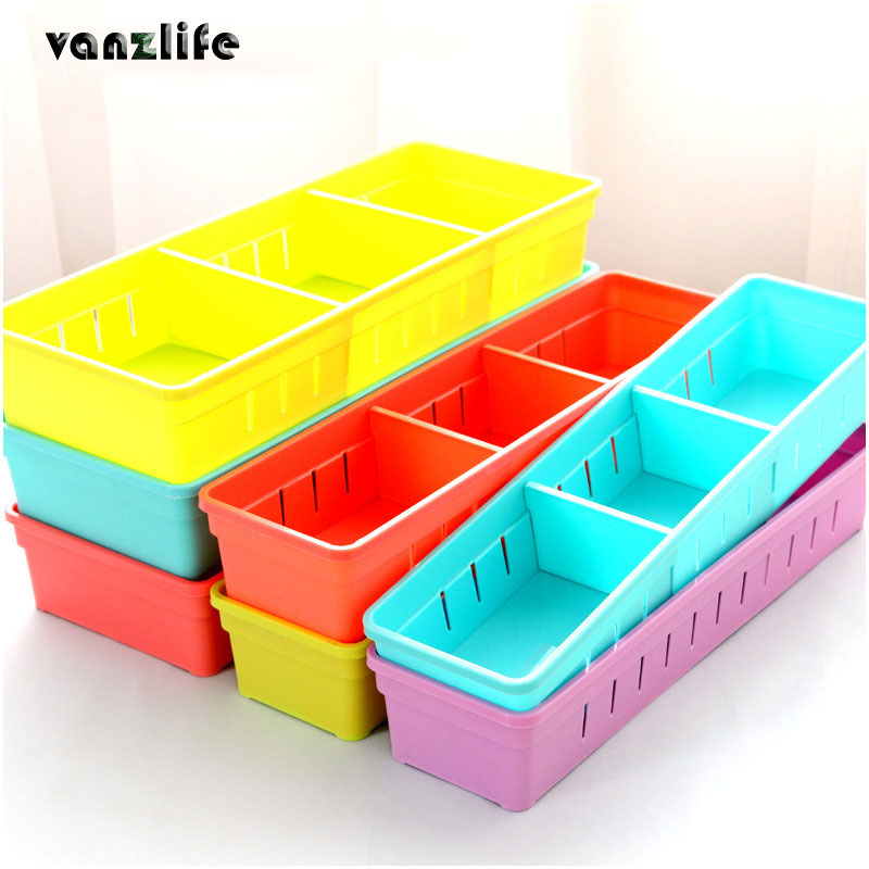 vanzlife kitchen plastic cutlery drawer with grid storage box free partition cupboard refrigerator organize cases