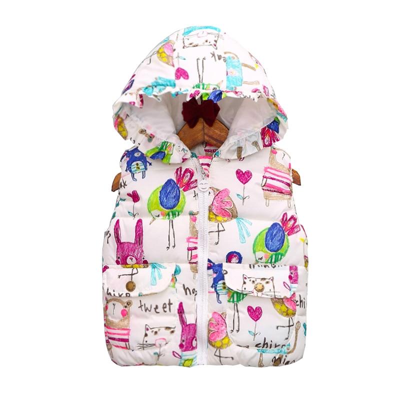 Factory Price !2016 AutumnWinter OuterwearCoats Graffiti Princess Toddler Girls Vest Hooded Kids Jackets Baby Girl Waistcoat