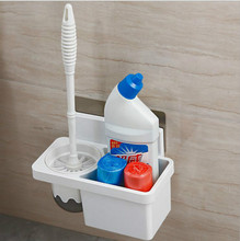 Creative Suction Toilet Brush Holder Set Durable Clean Wall Mount WC with Storage Stickers